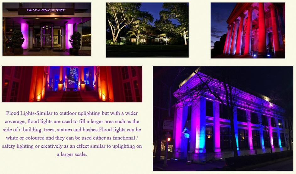 outdoor led uplighters hire london